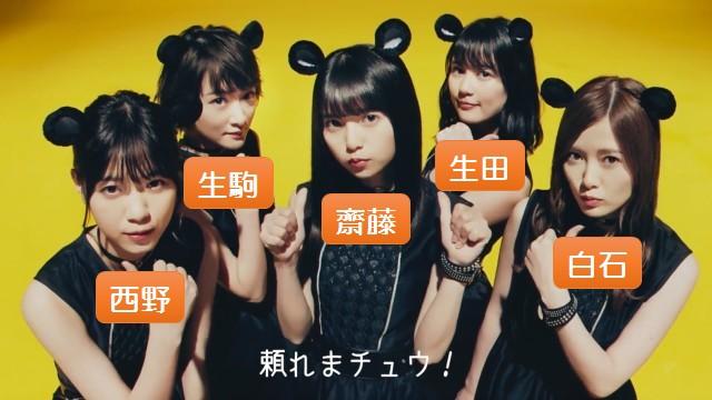 マウスCMに出演した1期生の5人